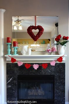 Valentines Day Mantle  Heart Garland  Red Candles  DIY Heart wreath  Candy dishes & Fresh flowers