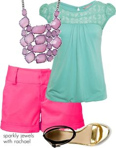 mint + hot pink + 2 layered statement necklaces + metallic sandals = love