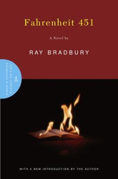 Fahrenheit 451 by Ray Bradbury (Adult/teen crossover). The classic dystopian world, where books are illegal and firemen are given the job of burning them when found. This is the story of one fireman whose beliefs are put into question when he befriends his odd new neighbor. Shelved in adult fiction.