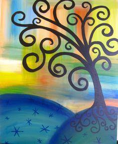 Whimsical Tree | Whimsical Tree Winter Trees, Winter Art, 5th Grade Art, Paint Party, Tree Art, Art Studios, Van Gogh, Artsy Fartsy, All Art