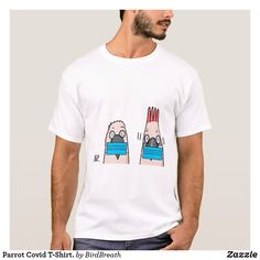 Parrot Covid T-Shirt. T-Shirt Funny Birds, Gifts For Dad, Parrot, Fitness Models, Cartoons, Casual, Sleeves, Mens Tops, T Shirt