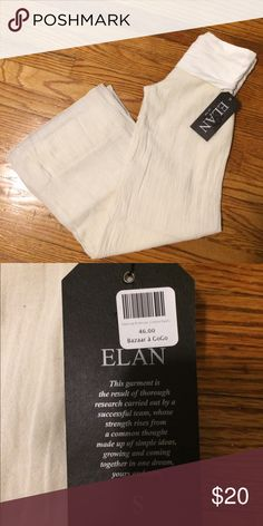 Elan Palazzo Pants - New with Tags! Elan Palazzo Pants  Double lined Cream color with fold over waist  Size small  New with tags Elan Pants Wide Leg