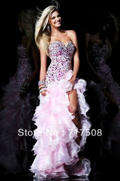 Dream beautiful A Line Side Slit Chapel Train Organza Layers Beaded Crystle Unique Prom Dresses 2014 Free Shipping $178.00
