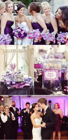 Purple wedding ideas… love the candy bar. The candy table included white swirly pops, purple jelly beans, white gum balls, Hershey mini bars, milk chocolate kisses, white wedding sweet tarts, laffy taffy and more