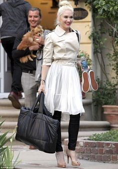 Gwen Stefani. and this is what I love.... chucks in one hand gorgeous classy pumps on feet, leggings, cream moto/cropped trench..... with a soft tulle skirt. this is my style.
