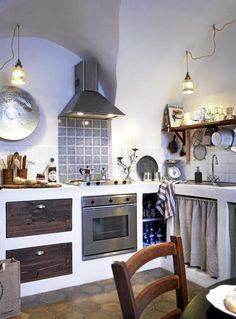 reforma cocina rústica con muebles de obra, frente cocina de azulejos, campana acero inoxidable. presupuestON.com