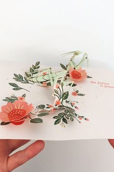 Greeting Card Product Number: An insect amongst florals foreshadows a coming era. Featuring gold foil & a red envelope. Paper Crafts Origami, Paper Quilling, Diy Paper, Kirigami, Paper Cards, Diy Cards, Pop Up Art, Creative Cards, Diy And Crafts