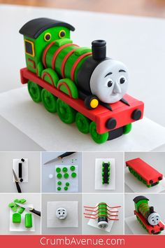 fondant gum paste Thomas and Friends figure figurine train how to make step by step tutorial free sugar art Crumb Avenue sugar craft choo choo birthday boy Fondant Cake Tutorial, Cake Topper Tutorial, Fondant Cupcake Toppers, Thomas Birthday Cakes, Thomas Cakes, Thomas Train Cakes, Cake Decorating Techniques, Cake Decorating Tutorials, Thomas And Friends Cake