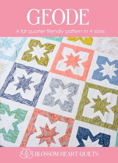 Grab your favourite fat quarters and let them dazzle in this Geode quilt! Using just one fat quarter per block, Geode is the perfect pattern to feature all those prints you love so much and offers 4 sizes of finished quilt. Alternatively, make it all from one print to create an effective finished quilt that will impress your family and friends. Or go your own way and create what you love!  For more inspiration, check out the #geodequilt feed on Instagram.  This listing is for a…