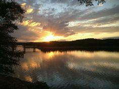 Sunrise over Lake Tenkiller in Oklahoma.