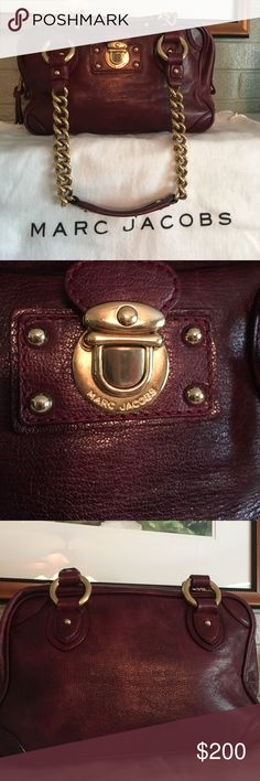 Marc Jacobs Bag Gorgeous burgundy Marc Jacobs bag in a beautiful soft leather. It has gold tone hardware with a chain and leather strap. Marc Jacobs Bags Satchels