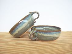 Ceramic Stoneware Soup Bowls One Handle in Fog by dorothydomingo, $40.00