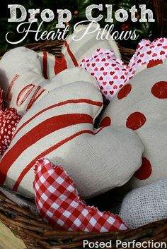Got some leftover drop cloth scraps? Don't throw them away. whip up some of these adorable Drop Cloth Heart Pillows for some easy Valentine's decor! Valentines Day Decorations, Valentine Day Crafts, Be My Valentine, Holiday Crafts, Valentine Ideas, Funny Valentine, Fabric Crafts, Sewing Crafts, Sewing Projects