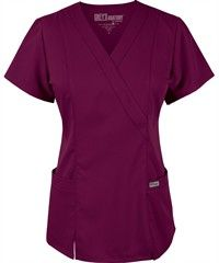 Grey's+Anatomy+Scrubs+Junior+Fit+Mock+Wrap+Elastic+Back+Top