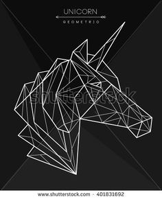 Geometric unicorn head. Tattoo, t-shirt design