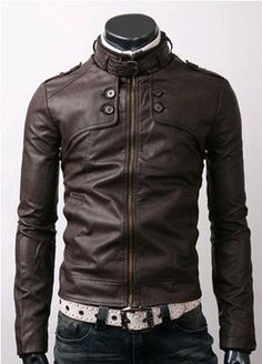 handmade Men Dark brown color Leather Jacket men by ukmerchant
