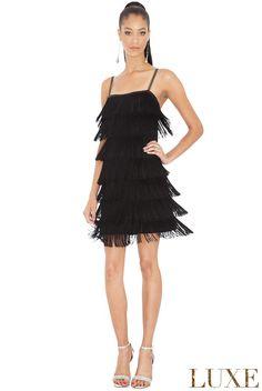 76aadb62 New Black Tassel Flapper 1920 s Gatsby Party Cocktail Tiered Fringe Dance  Dress