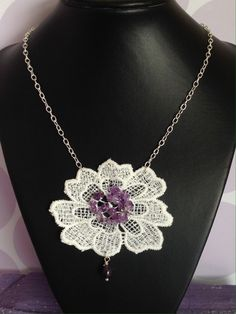 Delicate Lace Necklace with Purple Beading by RosaJaanLoves on Etsy https://www.etsy.com/listing/246670583/delicate-lace-necklace-with-purple