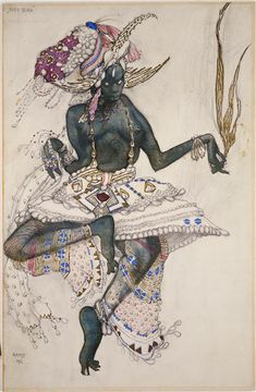 Leon Bakst, Costume for gold blue in Le Dieu Bleu , 1912
