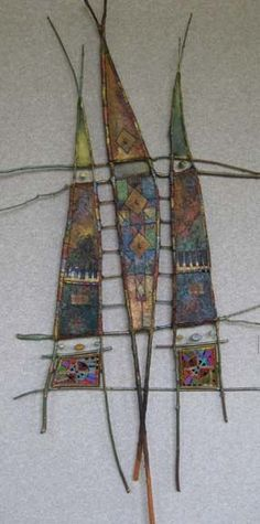 "Veil of Silent Conversations  35"" x 74""  sticks, paper, paint & pastel yarn/beads on beeswax/pine resin:"