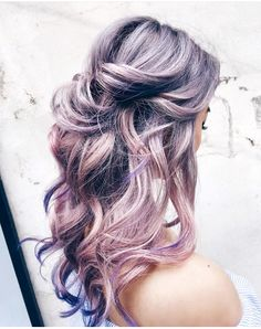 Silver pink lavender purple ombre hair color - All For Hair Color Balayage Hair Color Asian, Asian Hair, Ombre Hair Color, Purple Ombre, Purple Blush, Gray Ombre, Ash Grey, Messy Hairstyles, Pretty Hairstyles