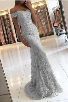 Off the Shoulder Mermaid Lace Gray Prom Dress,2018 Evening Gowns,Formal Dress OK579