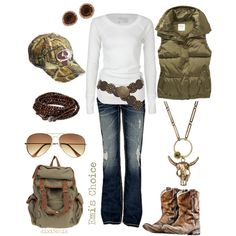 Hmmm so this isn't my style as much as an idea for me to consider for my hunter hubby when I go to one of his hunting expos...minus the necklace  Boots by dixie3chik