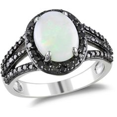 1/10 CT Black Diamond TW and 1 5/8 CT TGW Opal Silver and Black Rhodium Ring