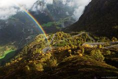 Norway, road to Lysebotn and rainbow