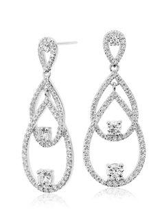 These contemporary diamond drop earrings showcase 170 round brilliant diamonds set in striking 18k white gold.