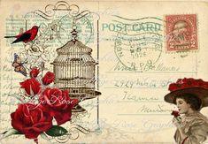 Large digital download 1926 VIntage Postcard collage red roses Bird cage
