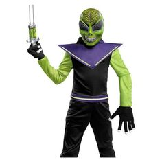 Kids Costumes - This scary Alien Costume includes the jumpsuit, mask and a pair of glow ropes. Toy weapon and gloves available separately. Alien Halloween Costume, Scary Costumes, Boy Costumes, Disney Costumes, Halloween Costumes For Kids, Halloween Party, Costume Ideas, Halloween Witches, Halloween 2015