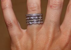 Really liking the stacked wedding ring look