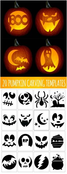 A little Halloween pumpkin carving inspiration – templates to print and copy! A little Halloween pumpkin carving inspiration – templates to print and copy! Holidays Halloween, Halloween Crafts, Halloween Party, Halloween Templates, Halloween Labels, Halloween Jack, Vintage Halloween, Halloween Costumes, Adornos Halloween