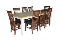 Hamburg Dining Set Code : HAG-52 Size : - Table W100 x  L220 x H78           - Chair W55   x  L48   x H104 Main material : Acacia wood Wood finish: Wire brushing, Lacquer fishing & other artificial aging