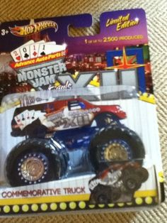 2011 Monster Jam XII World Finals Commemorative Truck Limited Edition 1 of 2500 by Mattel. $40.00. 1 of 2500 Produced. 1:64 Scale (Small Truck). Official Monster Jam Truck. 2011 Limited World Finals Edition. Not sold in stores. It's the Advance Auto Parts Monster Jam World Finals 12. Bring the World Finals home with youwith this third in a series of commemorative monster trucks, debuted exclusively at the World Finals in Las Vegas on March 25-26, 2011. Monster Jam, Monster Trucks, Die Games, Small Trucks, Little Brothers, Love Car, Hot Wheels, Diecast, Third