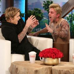 Pin for Later: Ellen Hilariously Scares Justin Bieber With a Guy Dressed as a Calvin Klein Model