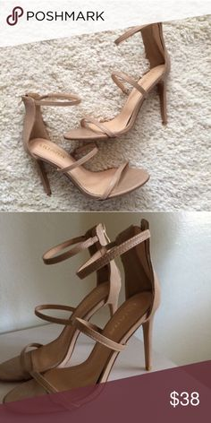 Strappy heels Gorgeous heels! They're a classic tan/nude color. Straps across the toes, midsection of the foot, and ankle. Two straps have stretch to fit your foot. They zip up the back of the ankle. They have a padded insole. The heel is about 4 1/2 inches. Brand new. Liliana Shoes Heels