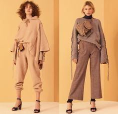See By Chloé 2017 Pre Fall Autumn Womens Lookbook Presentation - Georgia O'Keeffe Russian Mountain Villages Onesie Jumpsuit Bib Brace Dungarees Knit Sweater Jumper Ribbed Midi Skirt Ruffles Pants Under Skirt Satin Silk Vest Waistcoat Stripes Tiered Flowers Floral Paisley Drawstring Mesh Turtleneck Leg Warmers Maxi Dress Wide Leg Scarf Sweatshirt Jogger Lace Up Shoelace Drawstring Check Poncho Cloak Cape Trench Coat Quilted Neck Pouch Clogs Pyramid Bag Knee High Suede Boots Denim Jeans