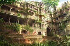Awesome overgrown temple. Forgotten Glory by *JonasDeRo on deviantART