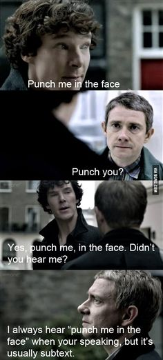 """Punch me"" featuring Sherlock and Watson"