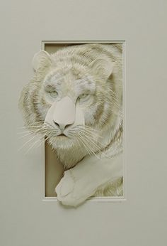 "*Paper Sculpture - ""Tiger"" by Calvin Nicholls"
