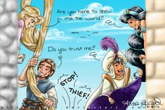 Tangled vs Aladdin by alisagirard on DeviantArt. Whoa, never thought of this one before! Aladdin Tangled Crossover