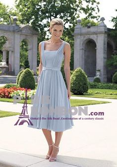 A-line Square-neck Tea-length Chiffon Mother of the Bride Dress