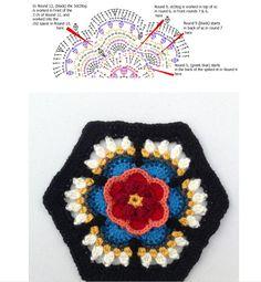 Rosa diagram symbols chart for Pt 4 Fridas Flowers CAL 2016 Block called Rosa Motif Mandala Crochet, Crochet Motifs, Crochet Blocks, Crochet Chart, Crochet Squares, Crochet Stitches, Granny Squares, Modern Crochet Patterns, Crochet Flower Patterns