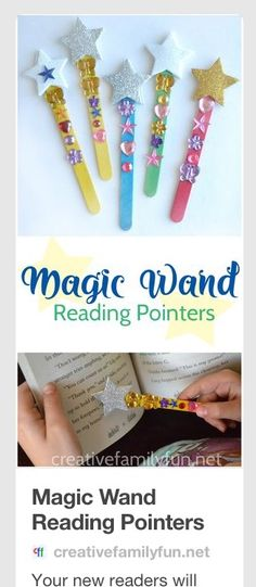 Your new readers will love making their own Magic Wand Reading Pointers that they can use to keep their place while reading. easy crafts for kids creative Magic Wand Reading Pointers - Creative Family Fun Craft Stick Crafts, Easy Crafts, Diy And Crafts, Magic Crafts, Craft Sticks, Magic Wand Craft, Popsicle Stick Crafts For Kids, Creative Crafts, Popsicle Stick Art