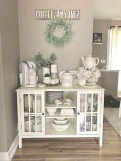 Love this coffee bar all done in white.