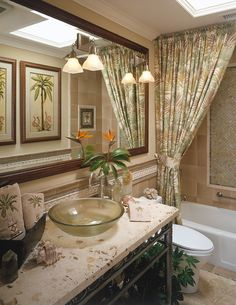 : Stunning Tropical Bathroom Design Interior Applied Unique Shower Curtains Floral Motif And White Bath Tub Ideas