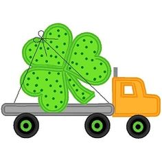 Flatbed Hauling Shamrock Applique - 3 Sizes! | St. Patrick's Day | Machine Embroidery Designs | SWAKembroidery.com Band to Bow