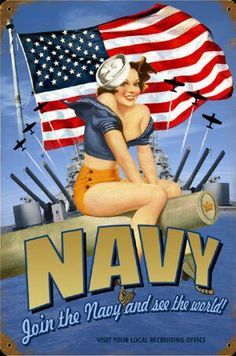 Navy - vintage patriotic WWII style pin-up. Get your custom Navy Ring from www.militaryringsonline.com #USNavy